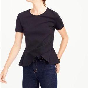 J. Crew Structured Flutter Hem Black Shirt Top